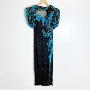 Vintage Black and blue Sequin Dress